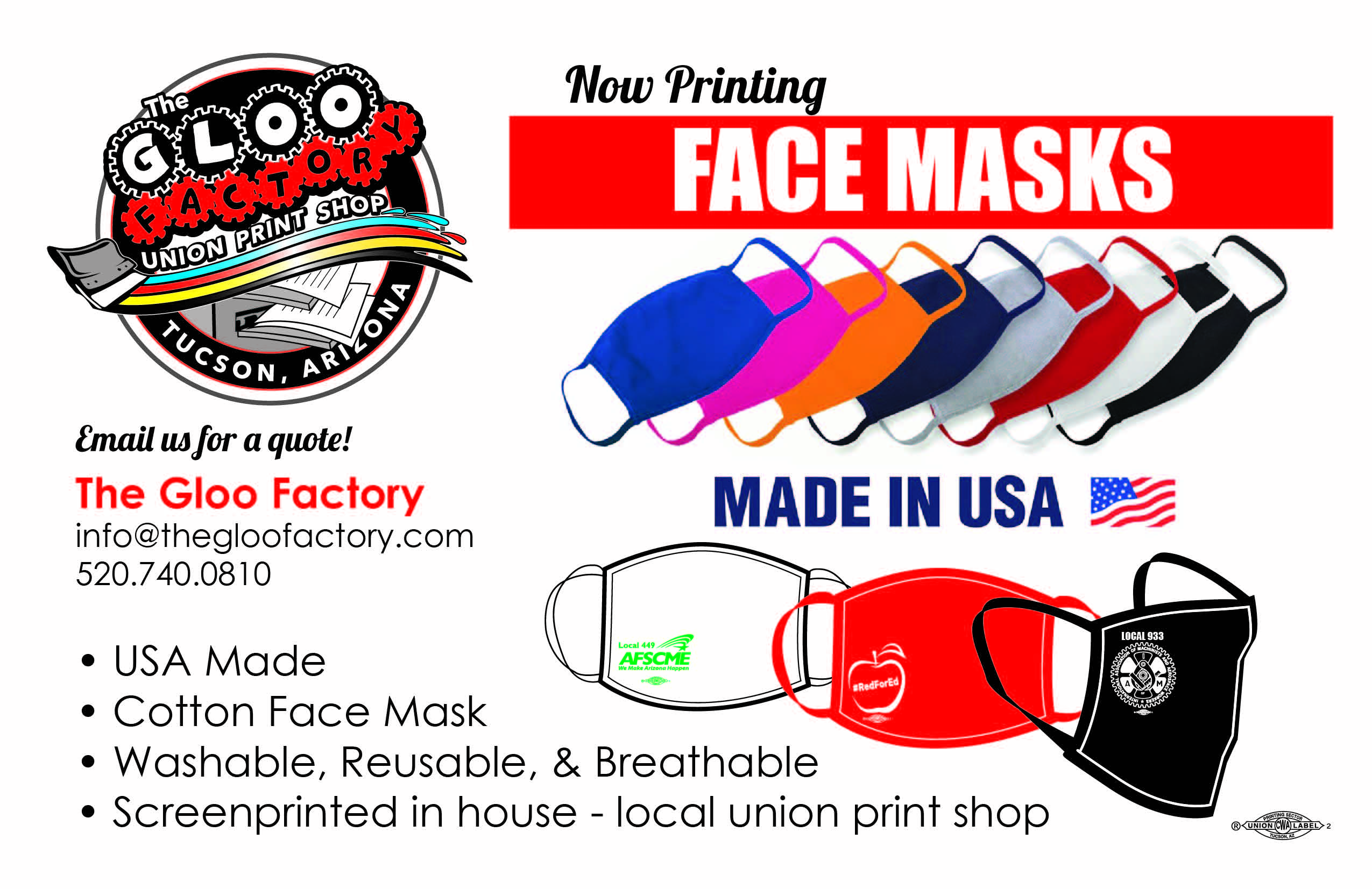 The Gloo Factory Union Print Shop in Tucson, Arizona is now screen printing custom cotton face masks!